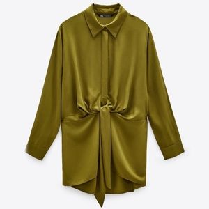 ZARA NWT Blouse with Front Knot - Olive Green